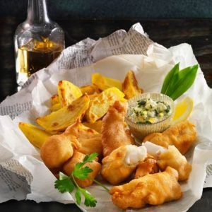 Fish and Chips mit Bärlauch-Mayonaise