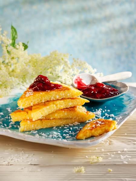 Kokos-Holunderblüten-Pfannkuchen